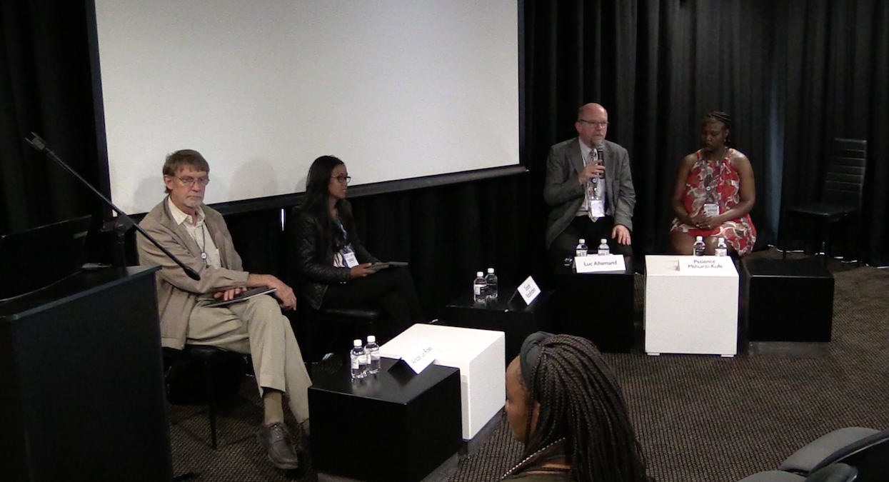 The panellists at the SFSA session : from left to right, Anton Le Roex, Tantely Razafimbelo, Luc Allemand and Patience Mthunzi-Kufa