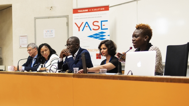 Panellists Amr Adly, Marie-Monique Rasoazananera, Amadou Tidian Ndiaye, Seema Kumar and Tolu Oni (from left to right)