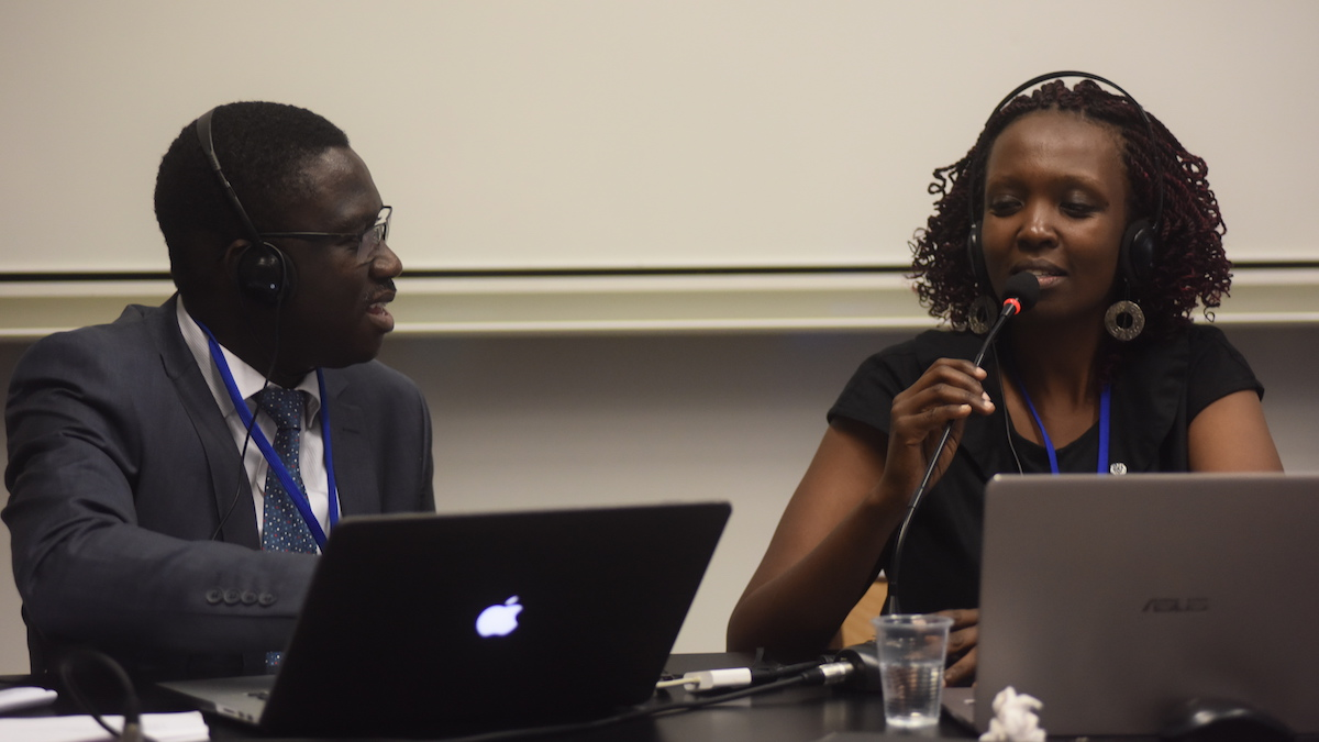 Mamadou Sarr and Connie Nshemereirwe were part of the panel that discussed the issues about higher education during the YASE meeting in Toulouse ©Rémy Gabalda/Afriscitech